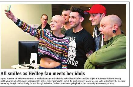 Tlc foundation surprises sophia with a private meet and greet with tlc foundation surprises sophia with a private meet and greet with her favorite band hedley m4hsunfo
